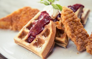 Refuel with a plate of Fried Chicken and Waffles at Bar10 after participating in AIDS Walk Los Angeles.