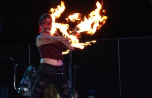 Our fave performers on the main stage at Dark Harbor: the fire dancers. (Sabina Ibarra/LOL-LA)