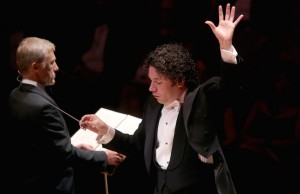 Christoph Waltz narrates as Gustavo Dudamel conducts selections from Egmont. (Greg Grudt/Mathew Imaging)