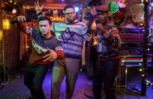 Joseph Gordon-Levitt, Seth Rogen and Anthony Mackie in The Night Before (Columbia Pictures)