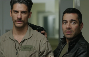 Omar Chaparro as Garza and Erick Elias as Santos in Compadres (Pantelion Films)