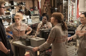 Chris Hemsworth, Kate McKinnon, Leslie Jones, Kristen Wiig and Melissa McCarthy in Ghostbusters