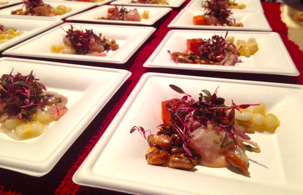 Chef Tomas Mendez of Picca had the best seafood dish of the day with a seabass ceviche. (TJ Webber/LOL-LA)
