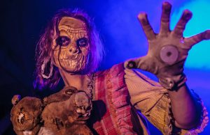 The heroes of Knott's Scary Farm are the scare zone actors, like this Ghost Town zombie girl.