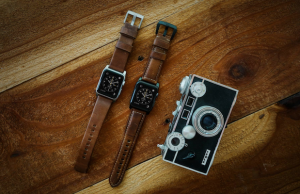 Nomad's Leather Strap for Apple Watch in a Modern or Traditional Build with silver or black hardware