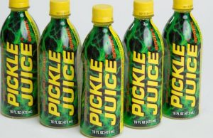 Pickle Juice Sport provides electrolytes and helps eliminate muscle cramps.