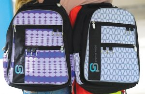 Sydney Paige World Changers Raleigh Laptop Backpack in Purple Patch and Silver Lining