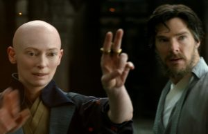 Tilda Swinton as the Ancient One and Benedict Cumberbatch as Dr. Stephen Strange in Doctor Strange