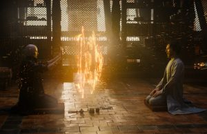 The Ancient One (Tilda Swinton) and Dr. Stephen Strange (Benedict Cumberbatch) in Doctor Strange (Jay Maidment)