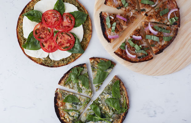 An array of tasty pizzas made with Outer Aisle Gourmet Cauliflower Pizza Crust.