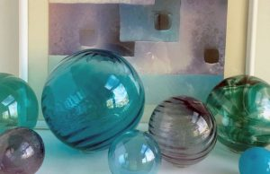 An array of translucent glass spheres from World Goods, Too.
