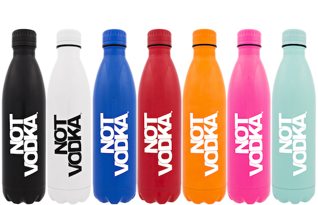 Not Vodka water bottles come in an variety of sizes and colors.