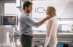Jim (Chris Pratt) and Aurora (Jennifer Lawrence) in Passengers (Columbia Pictures)