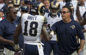 L.A. Rams head coach Jeff Fisher (right)