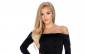 AMI Clubwear's Sexy Black Buttoned Accent Off the Shoulder Long Sleeve Formal Dress