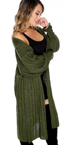 Sexy Olive Knit Ribbed Oversized Long Cardigan