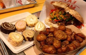 SpireCakes, a Spire beef sandwich and Twice Cooked Baby Dutch Yellow Potatoes at SpireWorks Eagle Rock (David Tobin/LOL-LA)