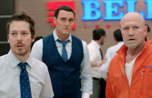 John Gallagher Jr., Owain Yeoman and Michael Rooker in The Belko Experiment