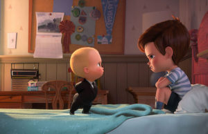 Boss Baby (Alec Baldwin) tries to convince Tim (Miles Bakshi) that they must cooperate in The Boss Baby. (DreamWorks Animation)