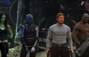 Zoe Saldana, Karen Gillan, Chris Pratt and Dave Bautista in Guardians of the Galaxy Vol.2