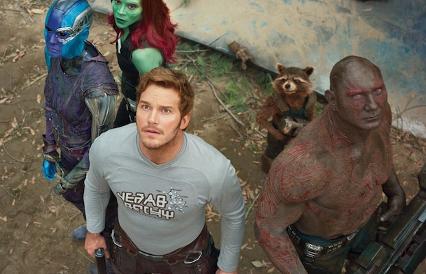 Karen Gillan, Zoe Saldana, Rocket (voiced by Bradley Cooper) and Dave Bautista in Guardians of the Galaxy Vol. 2