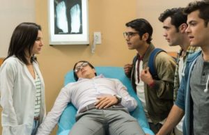 Martha Higareda, Vadhir Derbez, Christian Vazquez, German Valdez and Alfonso Dosal in 3 Idiotas. (Pantelion Films)