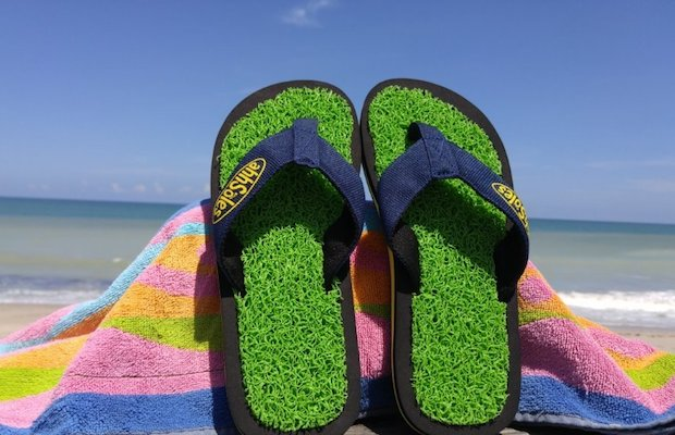 Let AhhSole's Green Coral Flip Flops massage your feet as you walk.