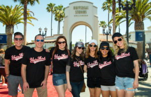 "Wearing matching ""You're Weird, I like you"" shirts, Anna Kendrick, Brittany Snow, the cast of Pitch Perfect and friends had an aca-awesome time during their visit to Universal Studios Hollywood on Monday, June 19, 2017. (Mike Baker/Universal Studios Hollywood)"