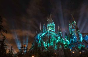 """The Nighttime Lights at Hogwarts Castle"" at ""The Wizarding World of Harry Potter"" at Universal Studios Hollywood. (Courtesy Photo)"