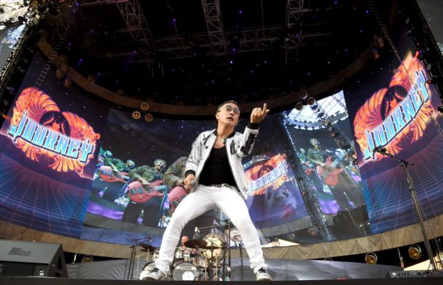Arnel Pineda, lead singer of Journey, on Sunday, July 16, 2017 during Live Nation's The Classic performance at Dodger Stadium. (Courtesy of Brandon Rieck)