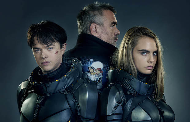 Dane DeHaan, Luc Besson and Cara Delevingne team up for Valerian and the City of a Thousand Planets. (Daniel Smith/STX Entertainment)