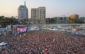 """Packed house during Kaskade's sold out beach party """"SunSoaked"""" Saturday, July 15 in Long Beach at Alamitos Beach. (Mark Owens)"""
