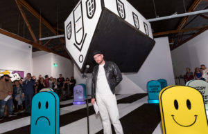 """D*Face at the opening of Happy Never Ending at Corey Helford Gallery (Bryan """"Birdman"""" Mier)"""