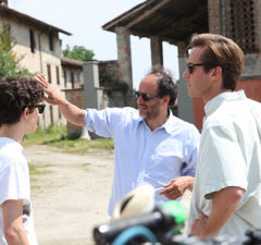 Timothée Chalamet, Luca Guadagnino and Armie Hammer on the set of Call Me by Your Name (Peter Spears/Sony Pictures Classics)