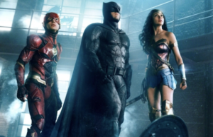 Ezra Miller, Ben Affleck and Gal Gadot in Justice League (Warner Bros./DC Comics)