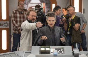 Director Rian Johnson and Carrie Fisher on the set of Star Wars: The Last Jedi (David James)