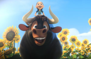 In Ferdinand, Ferdinand is voiced by John Cena, and Nina (Julia Saldanha and Lily Day). (Blue Sky Studios/20th Century Fox Film Corporation)