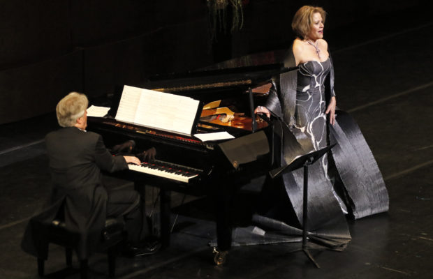 """Soprano Renée Fleming """"the people's diva,"""" returns to LA Opera for the first time since 2016 in a one-night-only recital with her longtime collaborator, the distinguished German pianist Hartmut Höll, in a special program of beloved arias and songs at the Dorothy Chandler Pavilion.(Lawrence K. Ho)"""