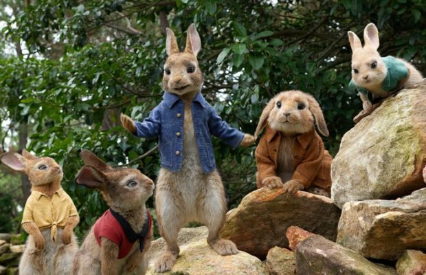 Flopsy, Mopsy, Peter (James Corden), Benjamin and Cottontail in Columbia Pictures' Peter Rabbit. (Sony Pictures)