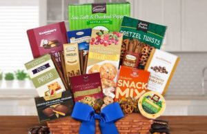 Consider a basket filled with gourmet snack and chocolate goodies for your next gifting occasion. (Courtesy photo)
